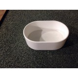 4'' White oval seed/ water pot